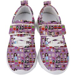 Drawing Collage Purple Kids  Velcro Strap Shoes