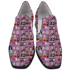 Drawing Collage Purple Women Slip On Heel Loafers