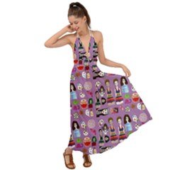 Drawing Collage Purple Backless Maxi Beach Dress