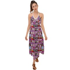 Drawing Collage Purple Halter Tie Back Dress