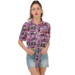 Drawing Collage Purple Tie Front Shirt