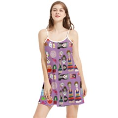 Drawing Collage Purple Summer Frill Dress