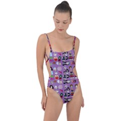 Drawing Collage Purple Tie Strap One Piece Swimsuit