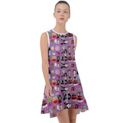 Drawing Collage Purple Frill Swing Dress