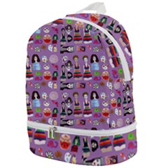 Drawing Collage Purple Zip Bottom Backpack