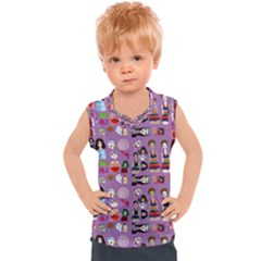 Drawing Collage Purple Kids  Sport Tank Top