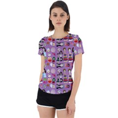 Drawing Collage Purple Back Cut Out Sport Tee