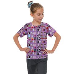 Drawing Collage Purple Kids  Mesh Piece Tee
