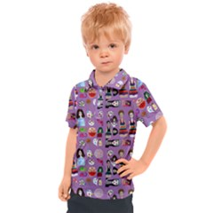 Drawing Collage Purple Kids  Polo Tee