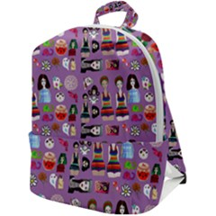 Drawing Collage Purple Zip Up Backpack