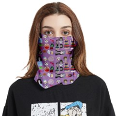 Drawing Collage Purple Face Covering Bandana (two Sides)