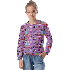 Drawing Collage Purple Kids  Long Sleeve Tee With Frill