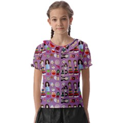 Drawing Collage Purple Kids  Frill Chiffon Blouse