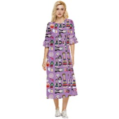 Drawing Collage Purple Double Cuff Midi Dress