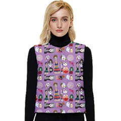 Drawing Collage Purple Women s Button Up Puffer Vest