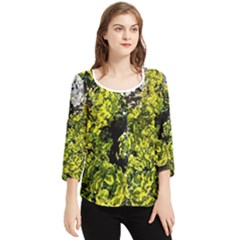Acid Green Patterns Chiffon Quarter Sleeve Blouse
