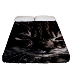 Creepy Kitten Portrait Photo Illustration Fitted Sheet (king Size)