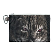 Creepy Kitten Portrait Photo Illustration Canvas Cosmetic Bag (large)