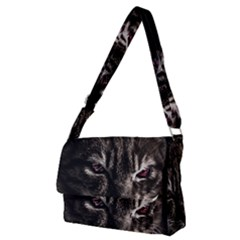 Creepy Kitten Portrait Photo Illustration Full Print Messenger Bag (m)