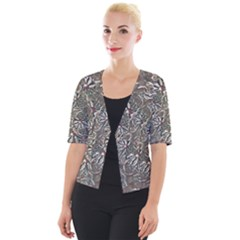 Modern Floral Collage Pattern Design Cropped Button Cardigan