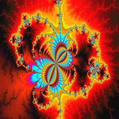 crazy mandelbrot fractal red yellow turquoise