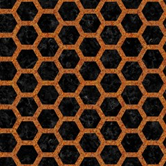 hexagon2 black marble rusted metal