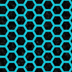 hexagon2 black marble turquoise colored pencil