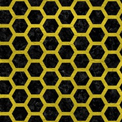 hexagon2 black marble yellow leather