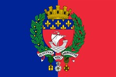 flag of paris with coat arms