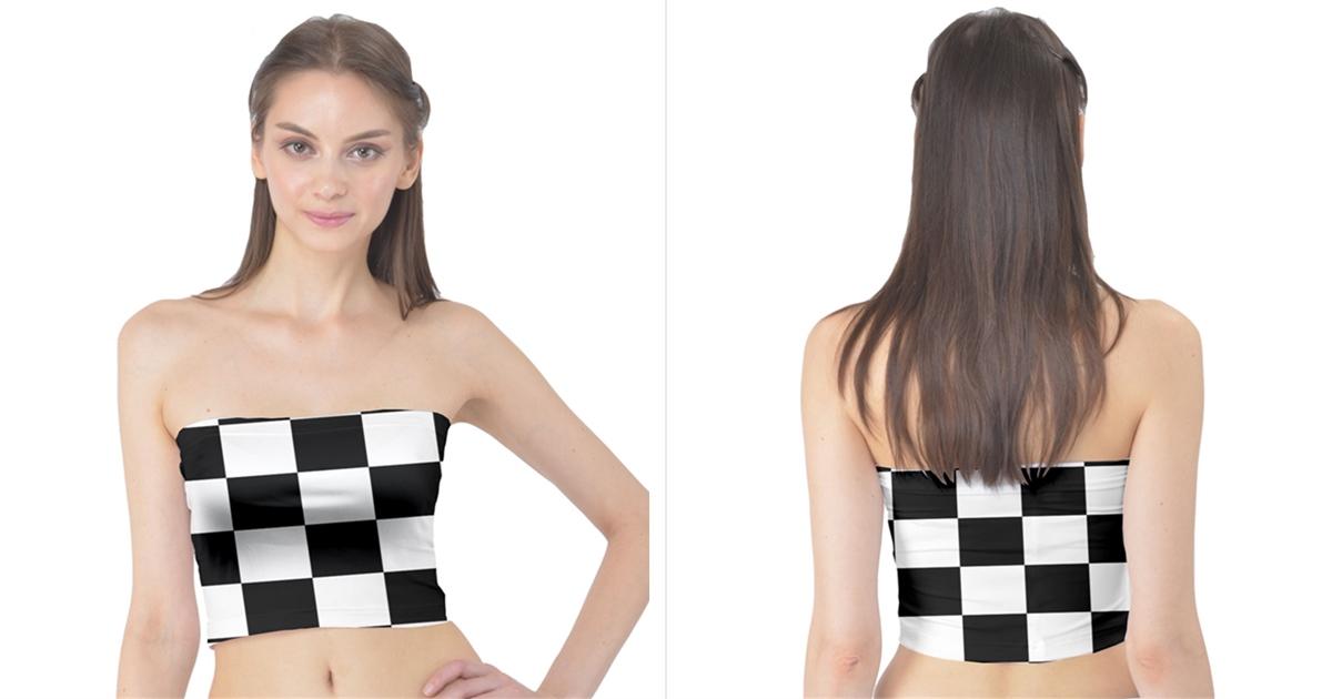 40b3846b16 Checkered Flag Race Winner Mosaic Tile Pattern Women s Tube Tops ...