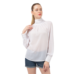 High Neck Long Sleeve Chiffon Top Icon