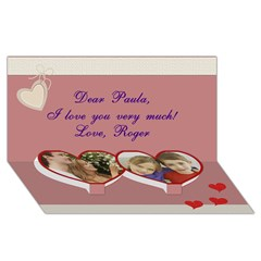 Twin Heart Bottom 3D Greeting Card (8x4) Icon
