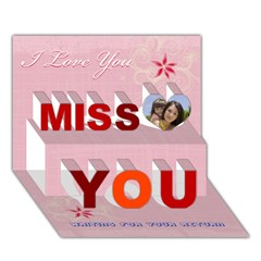 Miss You 3D Greeting Card (7x5) Icon