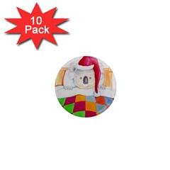 Santa In Bed  10 Pack Mini Magnet (round)