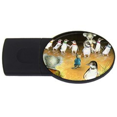 Penguin Parade  4gb Usb Flash Drive (oval) by Koalasandkangasplus