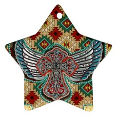 South West Leather Look Twin Sided Ceramic Ornament (star)