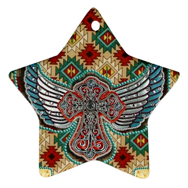 South West Leather Look Twin-sided Ceramic Ornament (Star)
