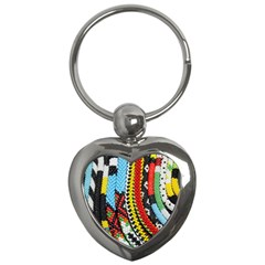 Multi Colored Beaded Background Key Chain (heart) by artattack4all