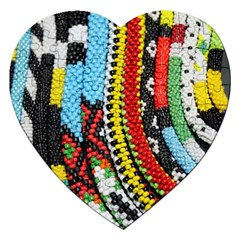Multi Colored Beaded Background Jigsaw Puzzle (heart) by artattack4all