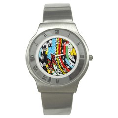 Multi Colored Beaded Background Stainless Steel Watch (round) by artattack4all