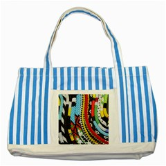 Multi Colored Beaded Background Blue Striped Tote Bag by artattack4all