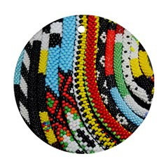 Multi Colored Beaded Background Twin Sided Ceramic Ornament (round) by artattack4all