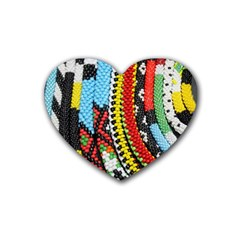 Multi Colored Beaded Background Rubber Drinks Coaster (heart) by artattack4all
