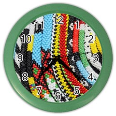 Multi Colored Beaded Background Colored Wall Clock by artattack4all