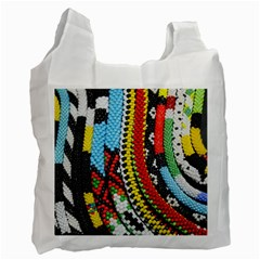Multi Colored Beaded Background Single Sided Reusable Shopping Bag by artattack4all