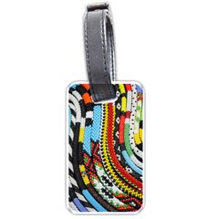 Multi Colored Beaded Background Twin Sided Luggage Tag by artattack4all