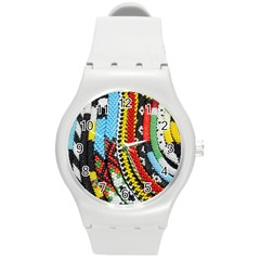 Multi Colored Beaded Background Round Plastic Sport Watch Medium by artattack4all