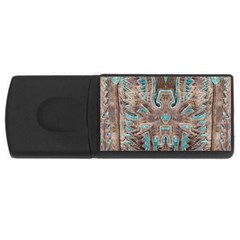 Turquoise And Gray Eagle Tooled Leather Look Usb Flash Drive Rectangular (4 Gb) by artattack4all