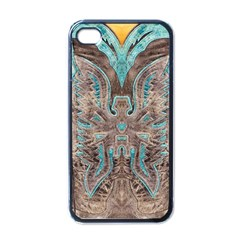Turquoise And Gray Western Leather Look Black Apple Iphone 4 Case by artattack4all