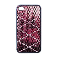 Red Glitter Bling Black Apple Iphone 4 Case by artattack4all
